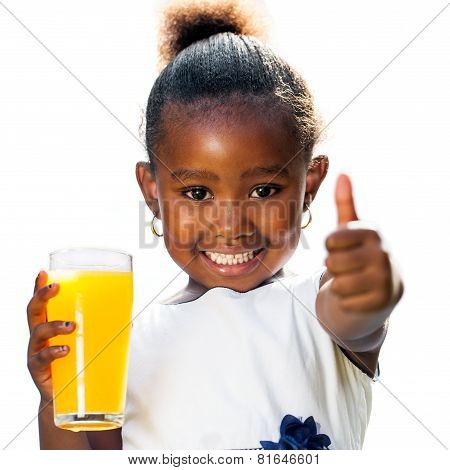 Cute African Girl Doing Thumbs Up Holding Orange Juice
