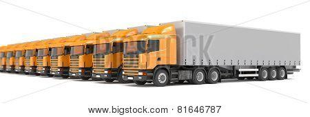 Orange Cargo Trucks Parked In A Row