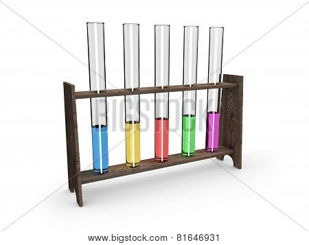 Test-tubes in wooden container with colorful fluid isolated on white