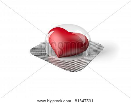 Heart pill isolated on white background