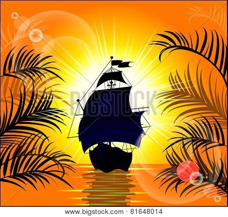 Beautiful Ship In The Background Of Wonderful Sunset
