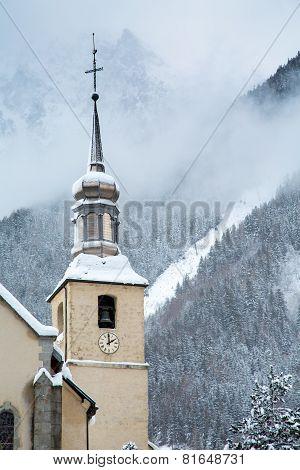 Church in Chamonix town in winter