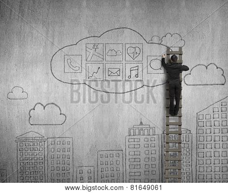 Businessman Climbing And Drawing Cloud App Icons Doodles