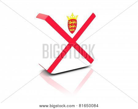Square Icon With Flag Of Jersey