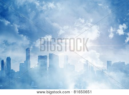 Panoramic View Of A City And Cloudy Sky