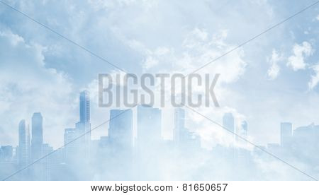 Panoramic View Of A Megalopolis And Clouds