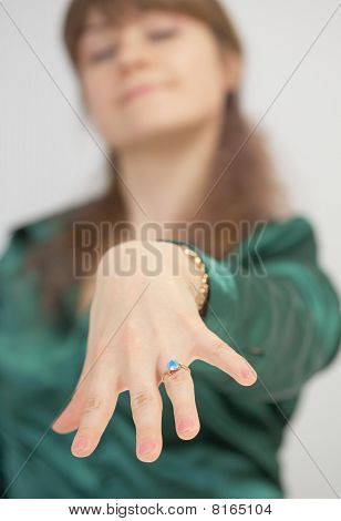 Girl Brags Of New Ring With Blue Stone