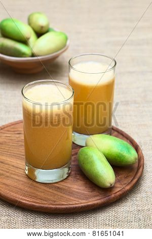 Juice Made of Banana Passionfruit (lat. Passiflora Tripartita)
