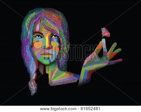 Woman With Colorful Texture Vector On Black