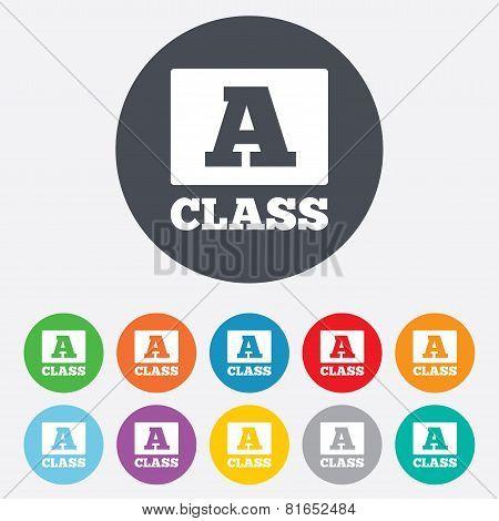 A-class sign icon. Premium level symbol.