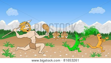 Vegetarian Stone Age Man Hunts Vegetables