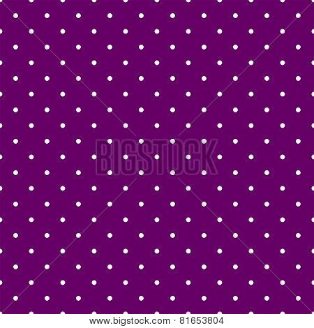 Tile vector pattern with small white polka dots on violet background