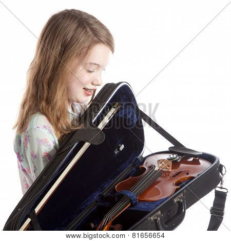 Young Girl In Studio With New Violin In Case