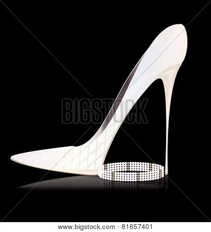 white shoe and pearls