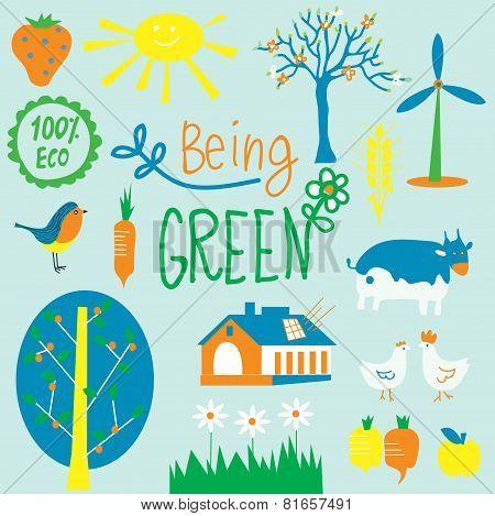 Eco friendly symbols set - agriculrure flowers energy