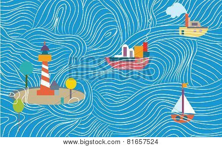 Funny sea banner with ships