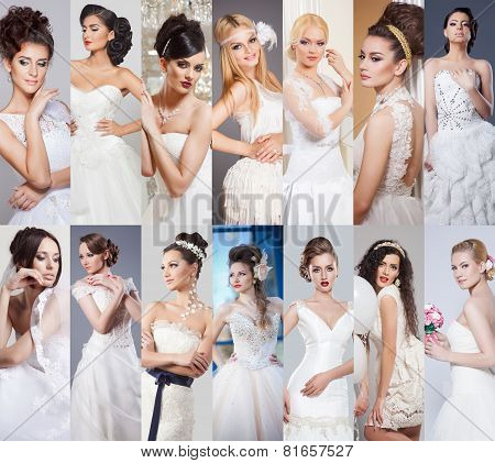 Beauty collage. Beautiful and fashion bride
