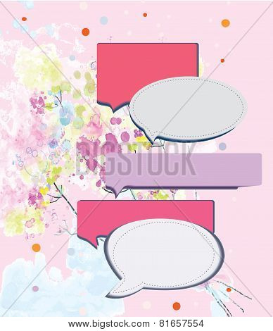 Speak frame on romantic floral background