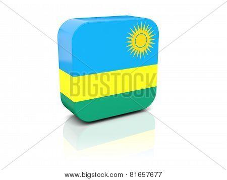Square Icon With Flag Of Rwanda