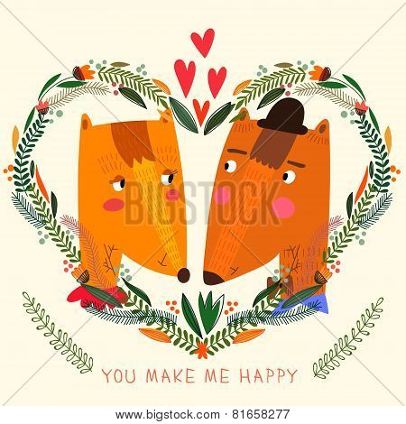 You Make My Happy Card In Bright Colors. Cute Couple Of  Fox  With Flowers In Cartoon Style. Romanti