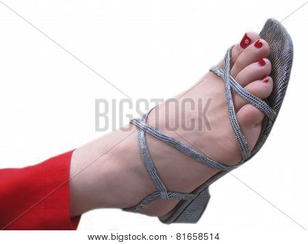 Womans Feet In The Footwear With Decorated Painted Nails