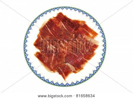 Closeup of serrano ham slices. Jabugo. Spanish tapa.