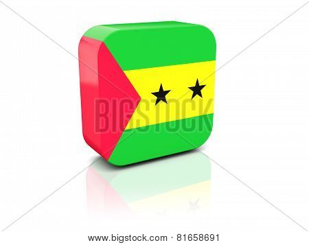 Square Icon With Flag Of Sao Tome And Principe