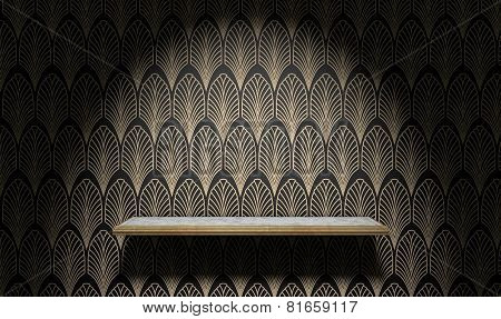 Empty Art Deco Shelf On Wall