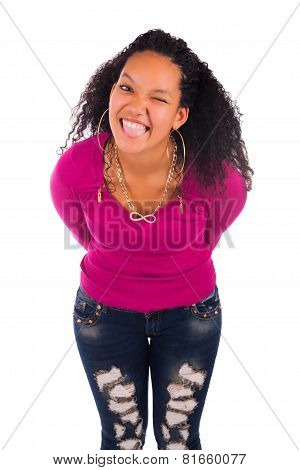 Pretty Girl With Afro Hairstyle Smiling