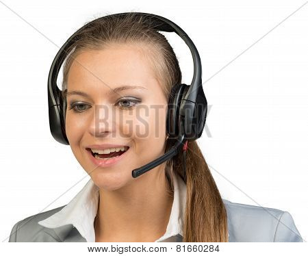 Businesswoman in headset