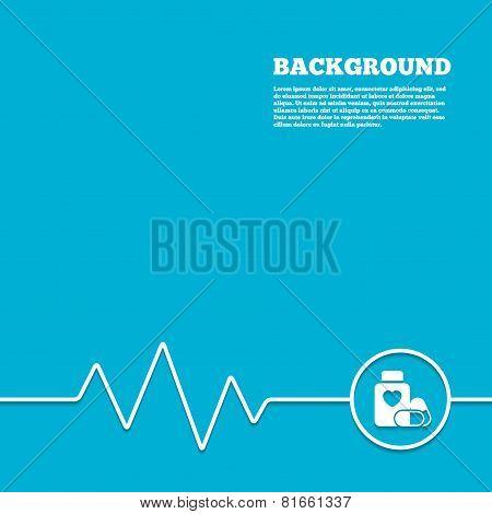Medical heart pills bottle sign icon. Drugs.