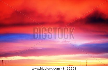 Bright clouds sunrise