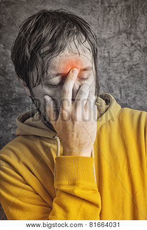 Man With Sinus Headache