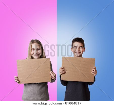 children with posters