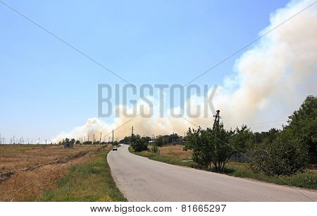 Prairie Fire Near The Settlement