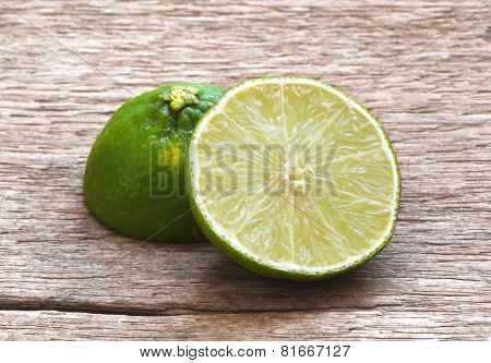 Lemon Cut On Wooden Table