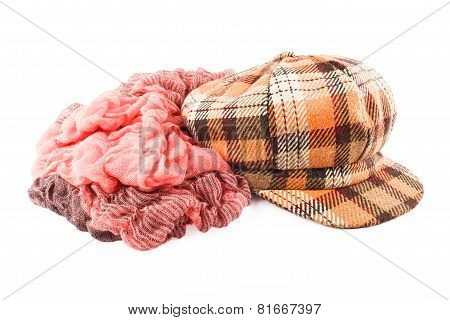Woolen Scarf And Cap Isolated On White Background