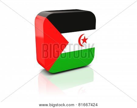 Square Icon With Flag Of Western Sahara