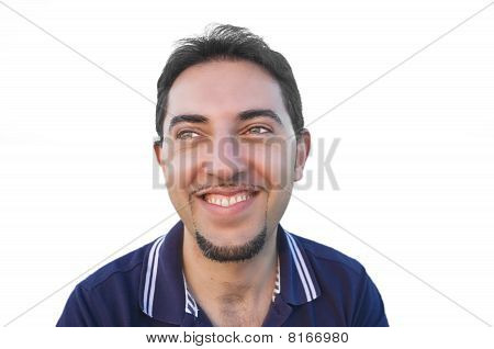 Smiling man isolated on white background.