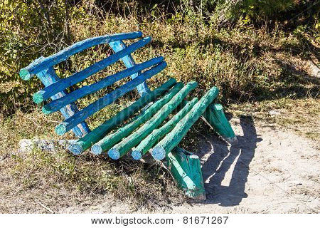 Unusual Wooden Bench Handmade In A Forest Glade
