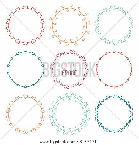 Hand drawn frame of romantic pattern with hearts. Trendy doodle style. Vector set of valentine day v