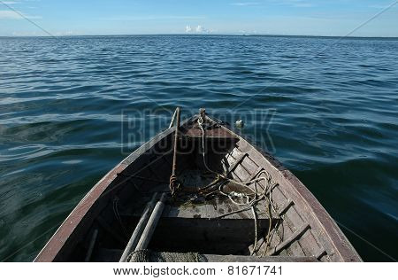 Old Wooden Boat On Sea