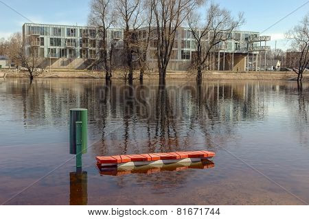 Flood On River At Springtime