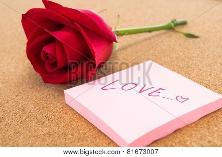 Single Red Rose With Post It With Word
