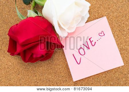 Red And White Rose With Post It With Word