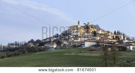 Monferrato village at sunrise, wintertime. Color image