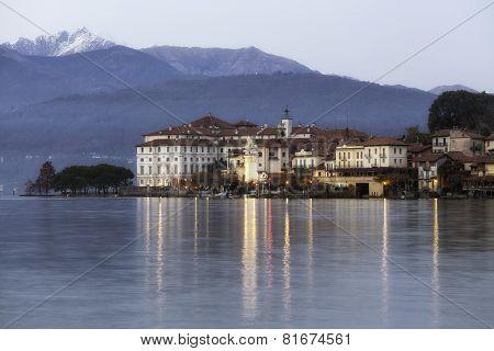 Isola Bella, Lake Maggiore, night winter view. Color image