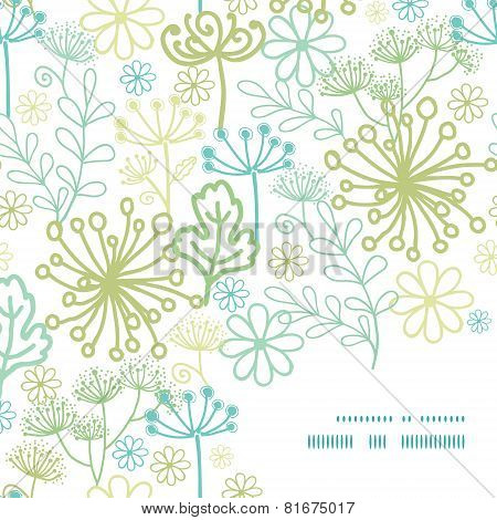 Vector mysterious green garden frame corner pattern background