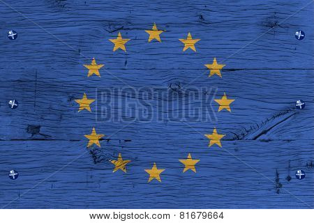 European Union Flag Painted Old Oak Wood Fastened