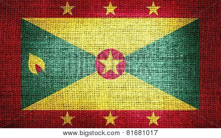 Grenada flag on burlap fabric